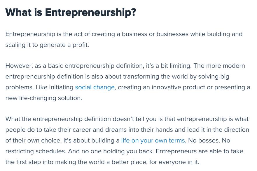 Definition of entrepreneurship.