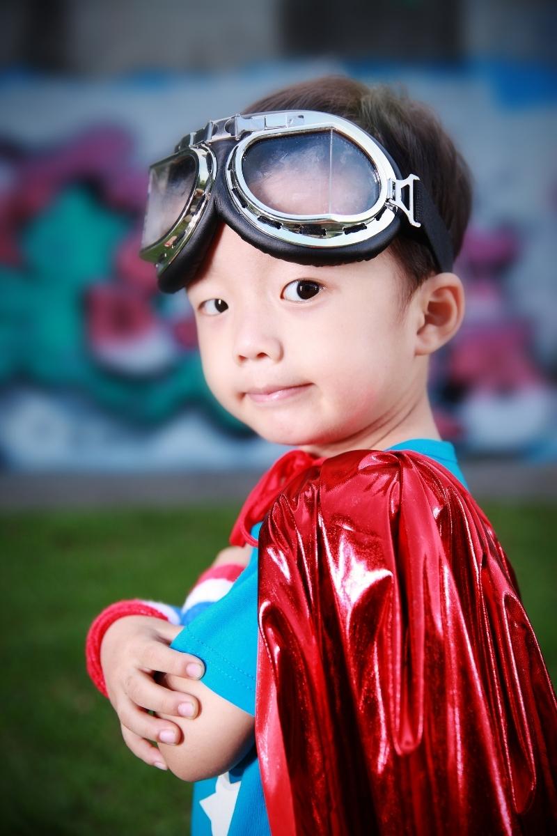 Action hero Asian child.
